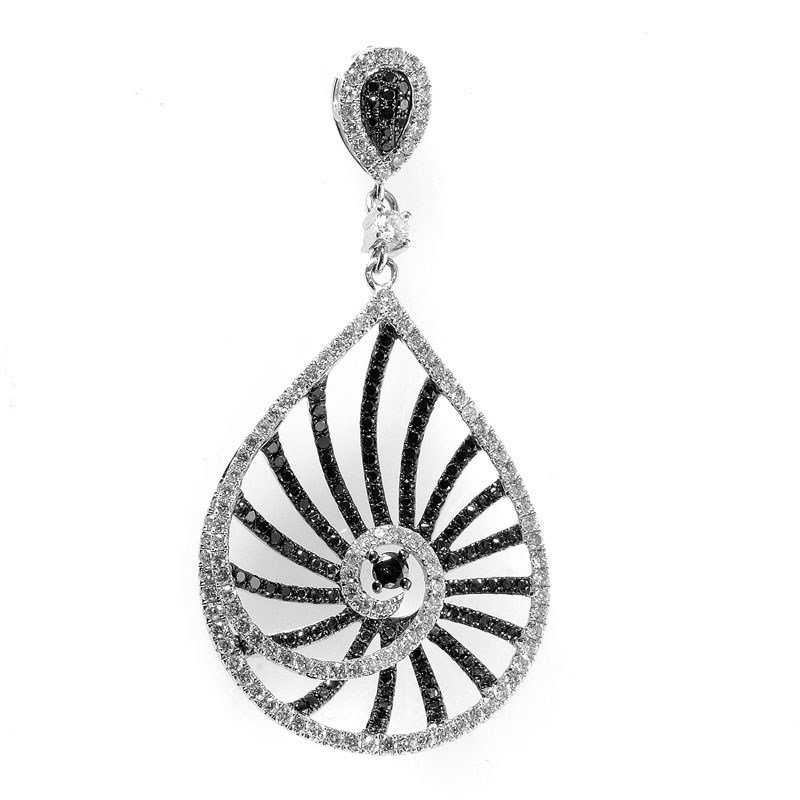 "Image of ""Natalie K 14K White Gold Black & White Diamond Teardrop Pendant"""