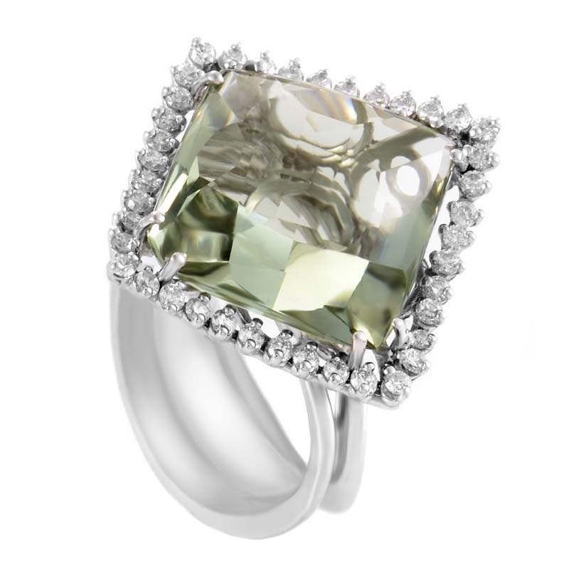 "Image of ""18K White Gold with Green Amethyst & 0.60ct Diamond Ring Size 7.5"""