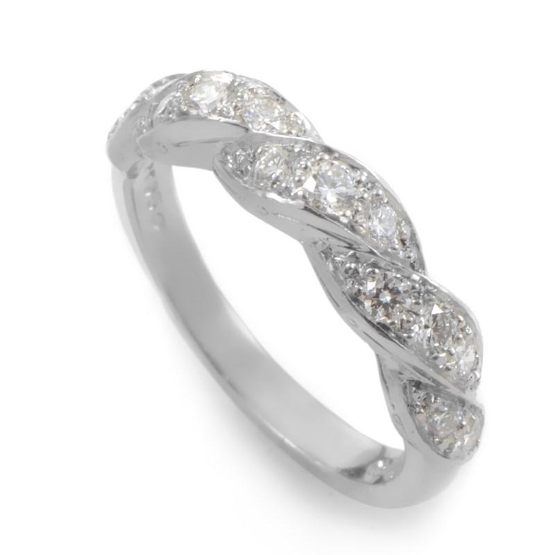 """Image of """"Oscar Heyman Platinum Braided Diamond Band Ring Size 4.75"""""""