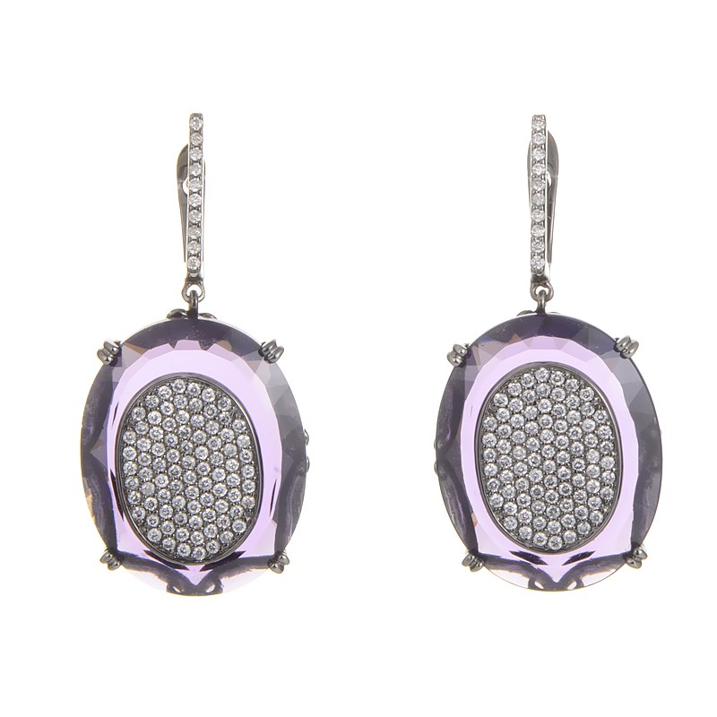"Image of ""French Collection 18K White Gold Amethyst & Diamond Pave Earrings"""