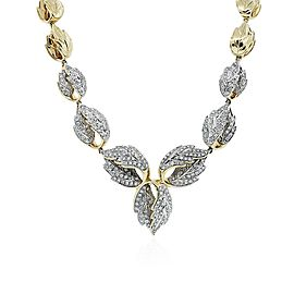 14K Yellow Gold Diamond Leaf Necklace
