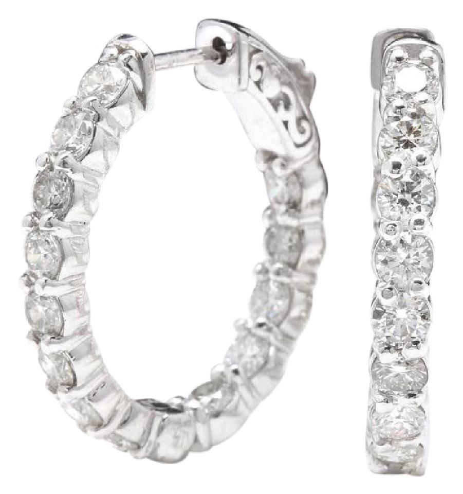 """Image of """"14K White Gold and 3.00ct Round Cut Diamond Hoop Earrings"""""""