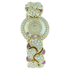 Chopard Happy Diamond and Rubies 18K Yellow Gold Womens Watch