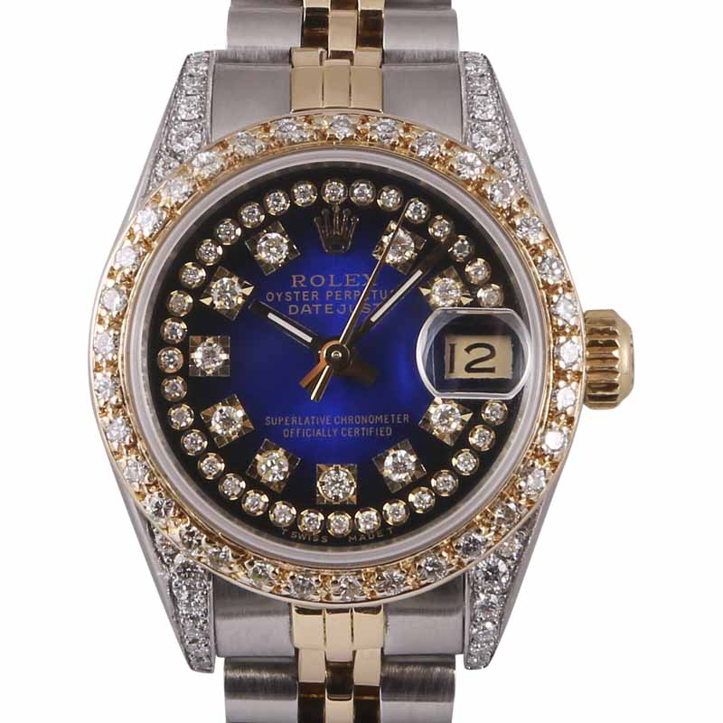 "Image of ""Rolex Datejust 18K Yellow Gold & Stainless Steel Blue Diamond Dial"""