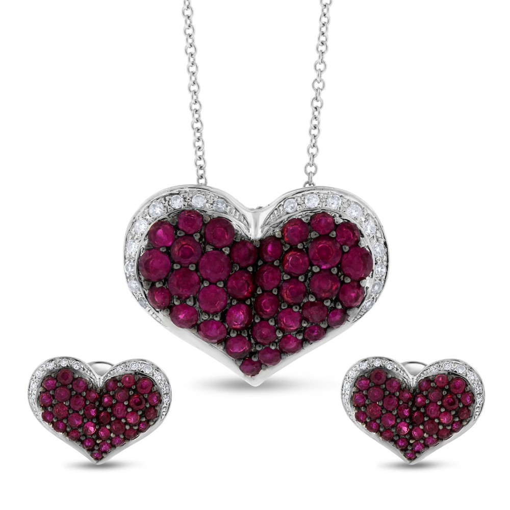 "Image of ""Effy 14k White Gold 2.58 Ct. Ruby & Diamond Heart Pendant & Earrings"""