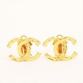Chanel Gold Tone Metal Coco Mark Earrings