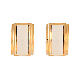 Hermes Gold Tone Enamel Clip-On Earrings