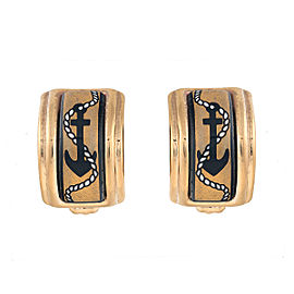 Hermes Gold Tone Anchor Motif Enamel Clip-On Earrings