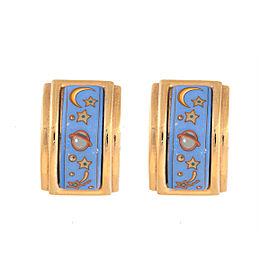 Hermes Gold Tone & Blue Enamel Planet Motif Enamel Clip-On Earrings