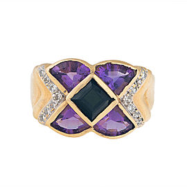 14K Yellow Gold Tourmaline, Amethyst and Diamond Cocktail Ring Size 8.75
