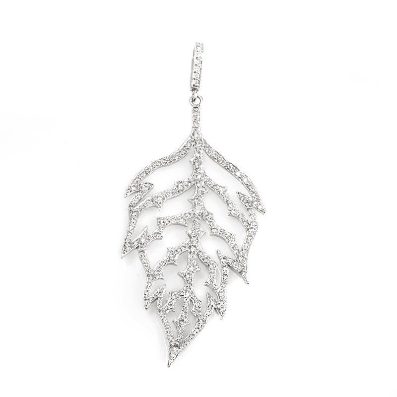 "Image of ""Cathy Waterman 18K White Gold Diamond Leaf Pendant"""
