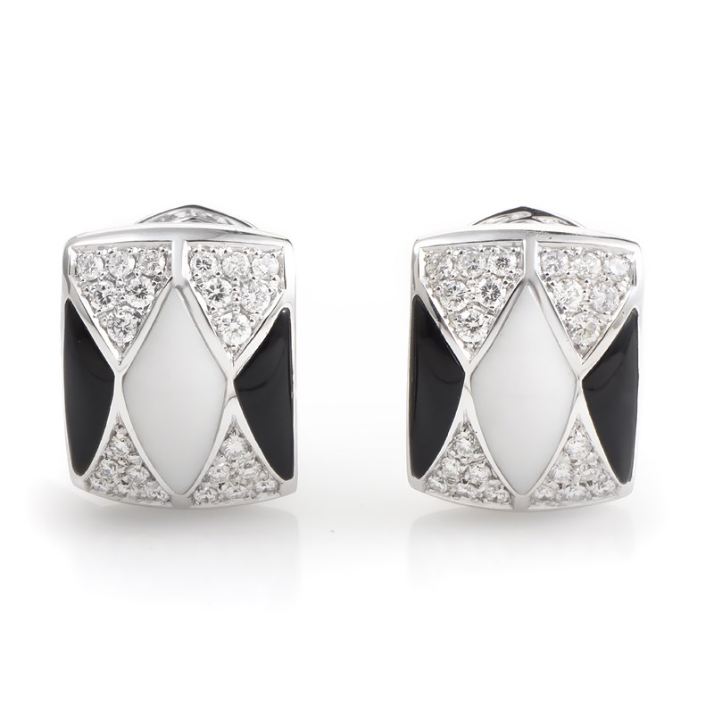 "Image of ""Oro Trend 18K White Gold Onyx & White Agate Diamond Earrings"""