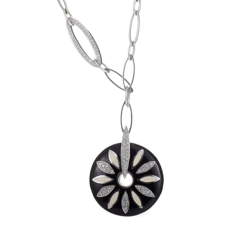 """Image of """"Nouvelle Bague 18K White Gold Diamond Daisy Pendant Necklace"""""""