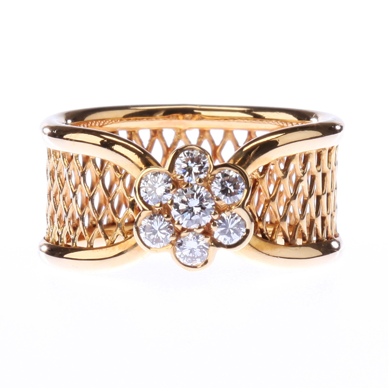 "Image of ""Van Cleef and Arpels 18K Yellow Gold Diamond Fleurrette Ring"""