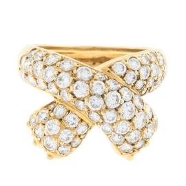 Fred J 18K Yellow Gold Fine Pave 1.87 ct Diamond Ring
