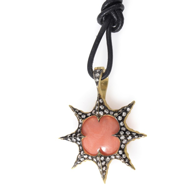 "Image of ""Cathy Waterman 22K Yellow Gold Coral & Diamond Sunburst Pendant"""