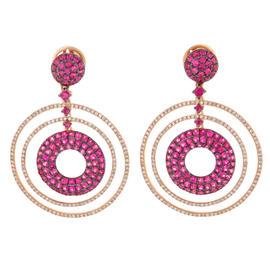 18K Rose Gold Black Rhodium Pink Sapphire Diamond Concentric Circle Earring