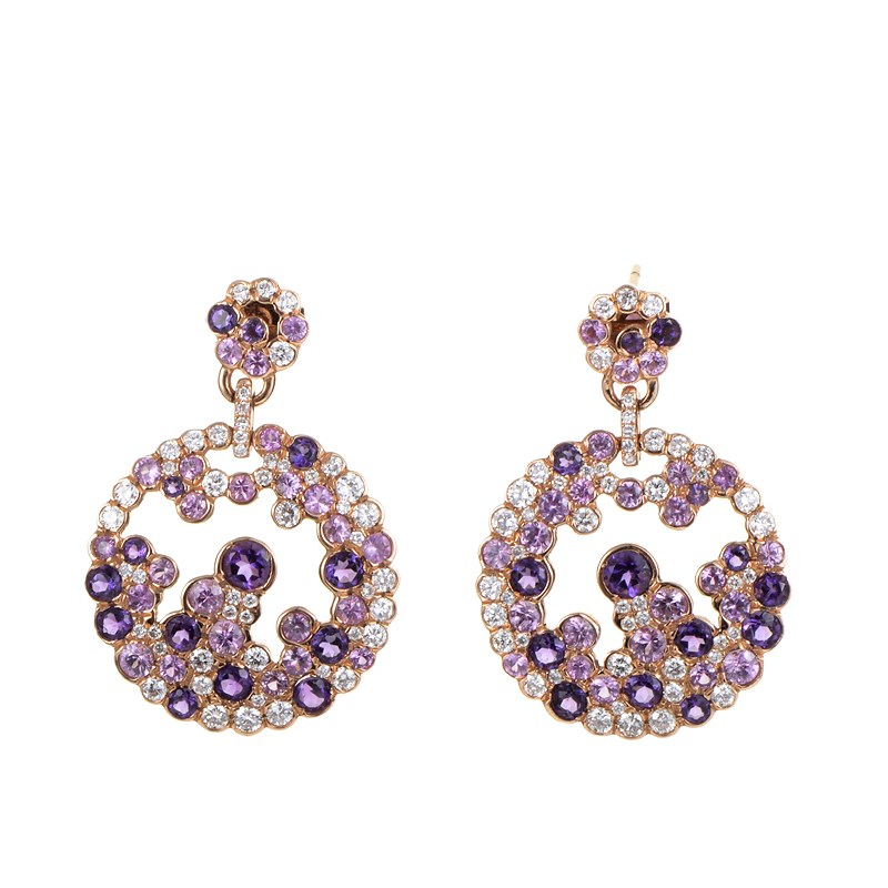 "Image of ""French Collection 18K Rose Gold Purple Gemstone & Diamond Earrings"""