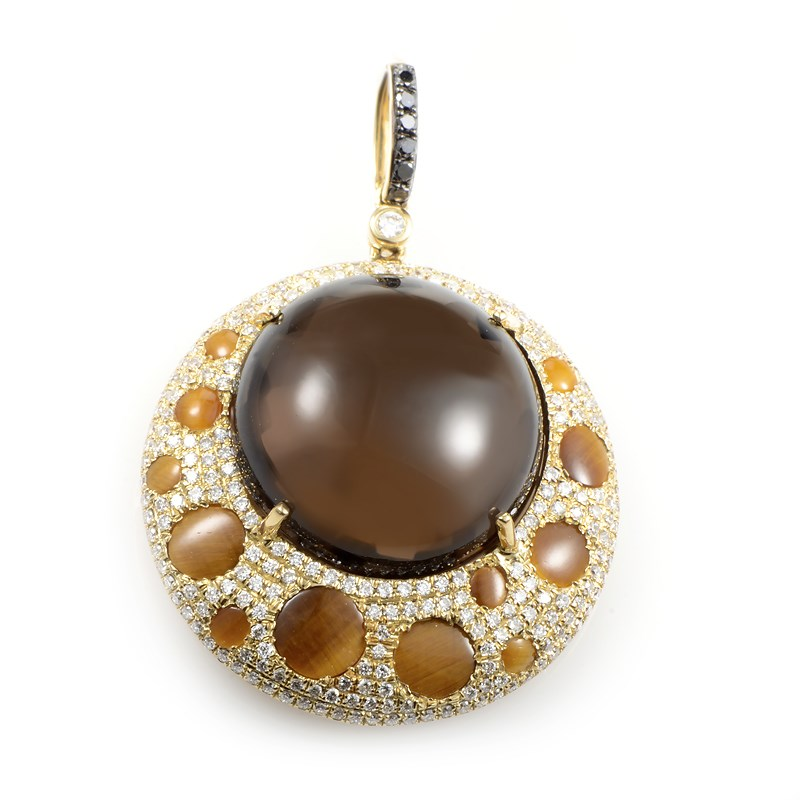 """Image of """"French Collection 18K Yellow Gold Brown Tiger's Eye, Topaz & Diamond"""""""