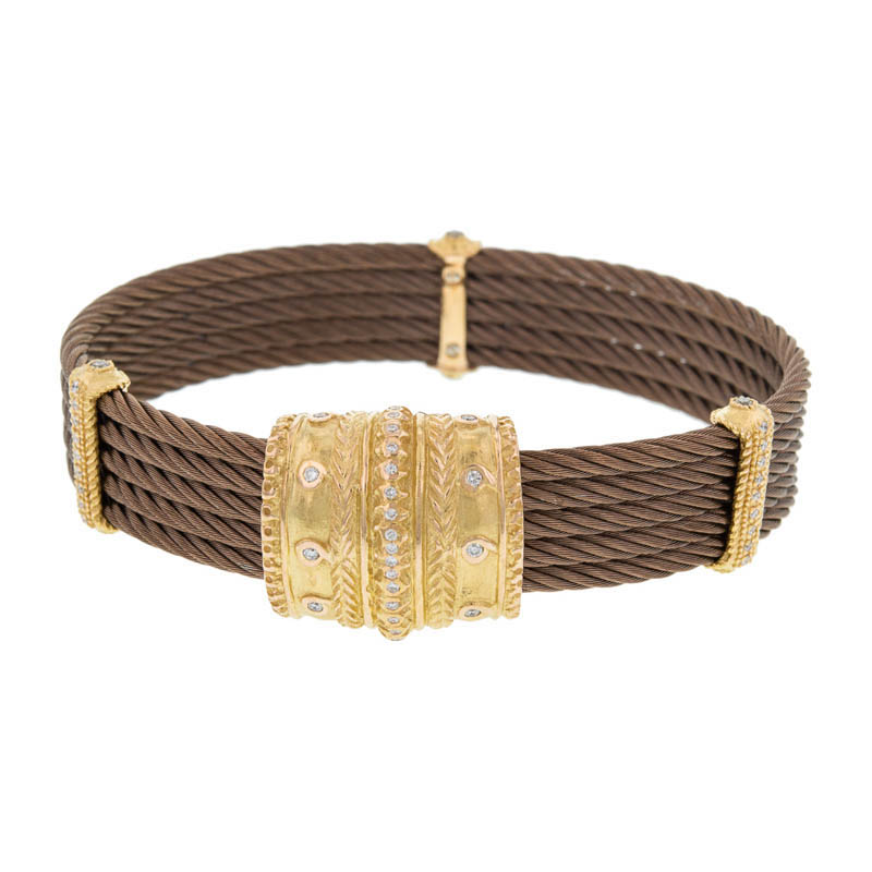 "Image of ""Charriol 18K Petra Gold 5 Row Nautica Cable Diamond Bronze Bracelet"""