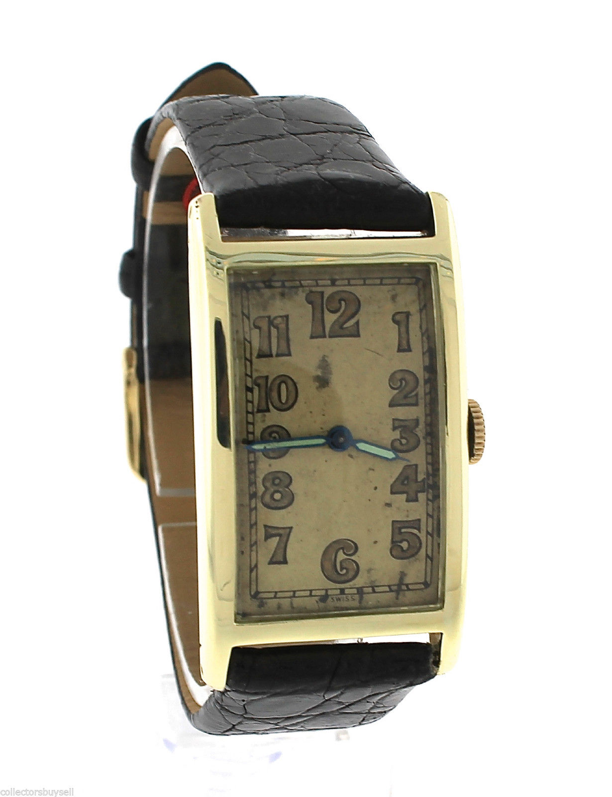 "Image of ""Antique Art Deco Concord 14K Yellow Gold Black Leather Watch"""