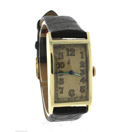 Antique Art Deco Concord 14K Yellow Gold Black Leather Watch