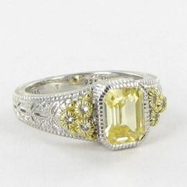 Judith Ripka 18k Yellow Gold Canary White Sapphire Ring