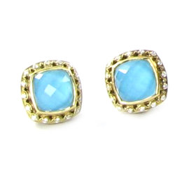 Tacori 925 18k YG Barbados Diamond Turquoise Stud Earrings