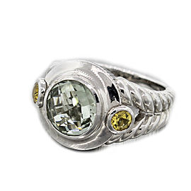 Judith Ripka Peridot Citrine Sterling Silver Cocktail Ring