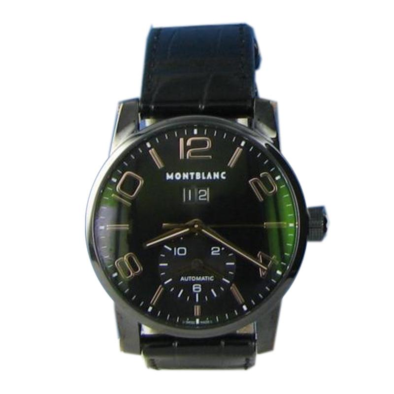 "Image of ""MontBlanc Timewalker 106066 Black PVD Rose Big Date Gator Strap Watch"""