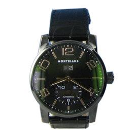MontBlanc Timewalker 106066 Black PVD Rose Big Date Gator Strap Watch