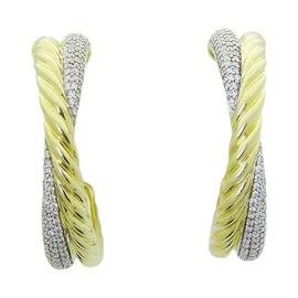 David Yurman 18K Two Tone Gold & Diamond Hoop Earrings