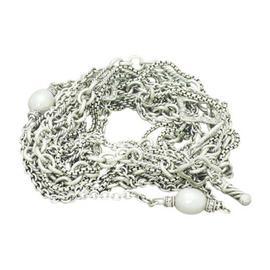 David Yurman 925 Silver Pearl & Diamond Quatrefoil Multi Chain Necklace