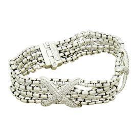 David Yurman 925 Sterling Silver Diamond Double X Multi Bracelet