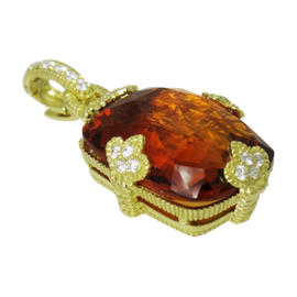 Judith Ripka 18K Yellow Gold Diamond Madeira Citrine Pendant