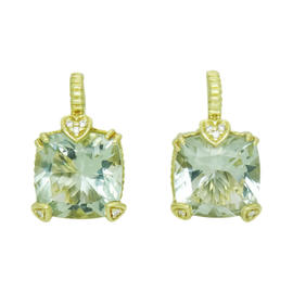 Judith Ripka 18K Yellow Gold & Green Amethyst Pave Diamond Earrings