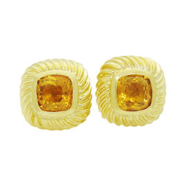 David Yurman 18K Yellow Gold Citrine Stud Earrings
