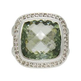 David Yurman Albion Prasiolite Diamond Sterling Silver Ring