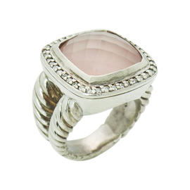 David Yurman Albion 925 Sterling Silver Rose Quartz Diamond Ring
