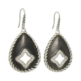 David Yurman Quatrefoil Diamond Blackened Silver Cable Drop Dangle Earrings