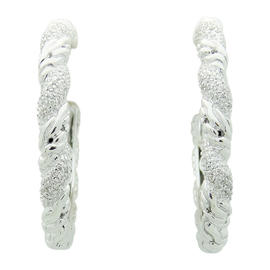 John Hardy 18K Gold Silver Diamond Carved Chain Hoop Earrings