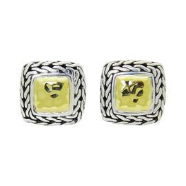 John Hardy Palu Sterling Silver & 22K Yellow Gold Medium Square Earrings