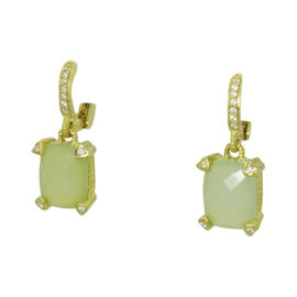 Judith Ripka 18K Yellow Gold Green Quartz and Diamond Drop Dangle Earrings