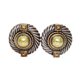 David Yurman 14K Yellow Gold Sterling Silver Round Clip Earrings