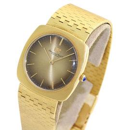 IWC Schaffhausen 1421 18K Yellow Gold Brick Link Bracelet Bronze Dial Vintage Mens Watch Circa 1960
