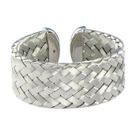 Roberto Coin Sterling Silver Medium Woven Cuff Bracelet