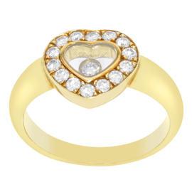 Chopard 82/1084-20 18K Yellow Gold & Diamonds Happy Diamonds Ring Size 3.75