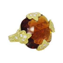 Judith Ripka 18K Yellow Gold Diamond Madeira Citrine Ring