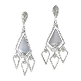Alexis Bittar Lucite Crystal Chandelier Dangles Clip-On Earrings