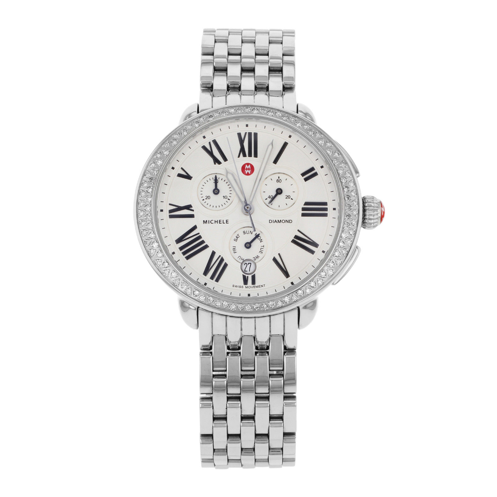"Image of ""Michele Serein Diamond Mww21A000001 Stainless Steel Quartz Womens"""